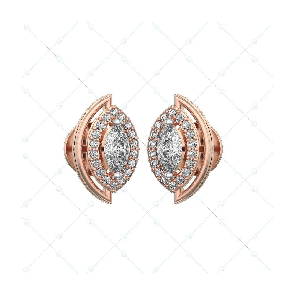 0.25 ct Captivating Charms Solitaire Earrings in Pink Gold for Women (Halo) v1