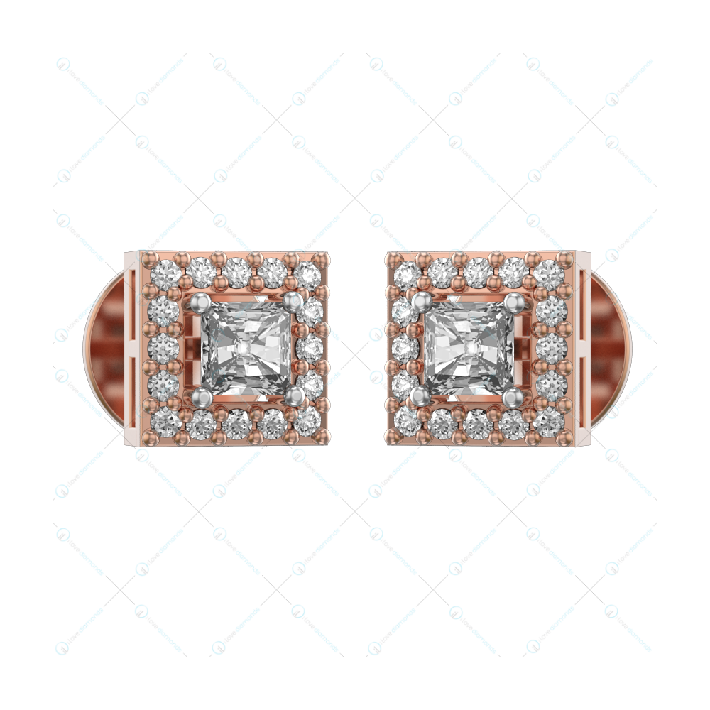 0.15 ct Square Solitaire Earrings in Pink Gold For Women(Halo) v1