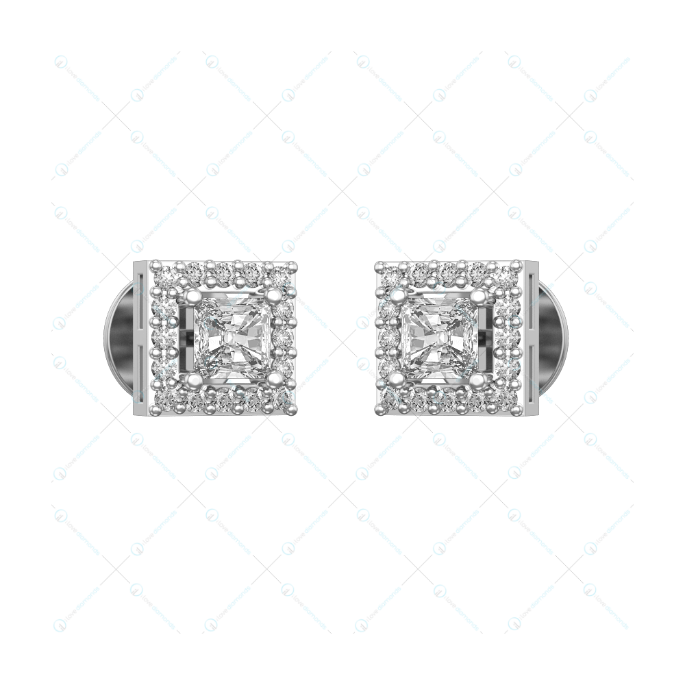 0.25 ct Square Solitaire Earrings in White Gold for Women (Halo) v1