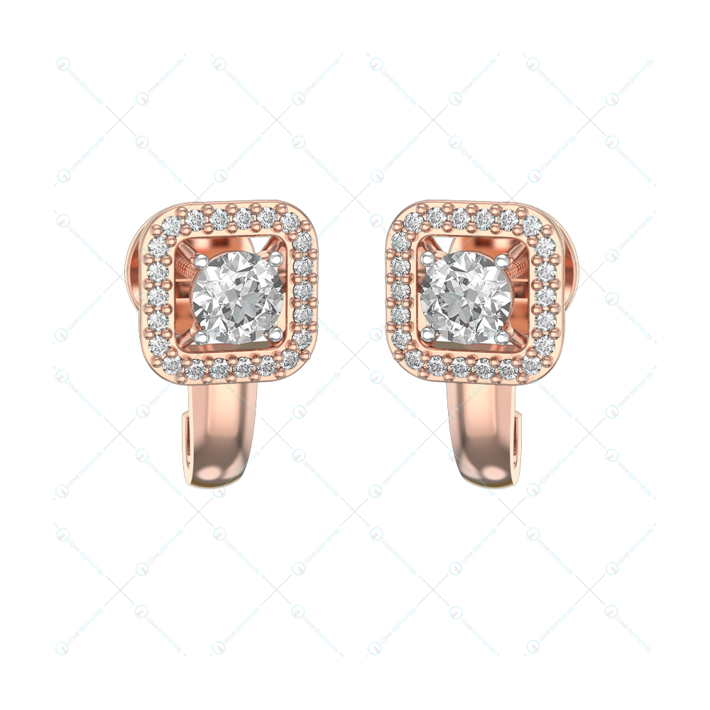 0.30 ct Winsome Squares Solitaire Earrings in Pink Gold for Women (Halo) v1