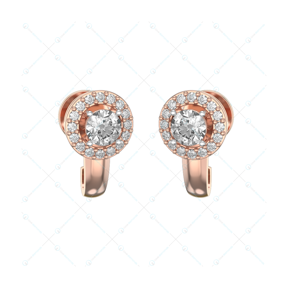 0.30 ct Concentric Luminance Solitaire Earrings in Pink Gold for Women (Halo) v1