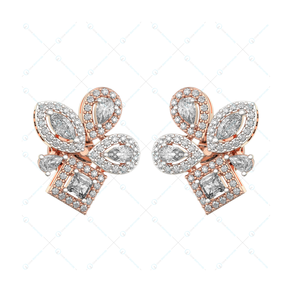 0.15 Ct Precious Passion Solitaire Earrings In Pink Gold For Women (Halo) v1