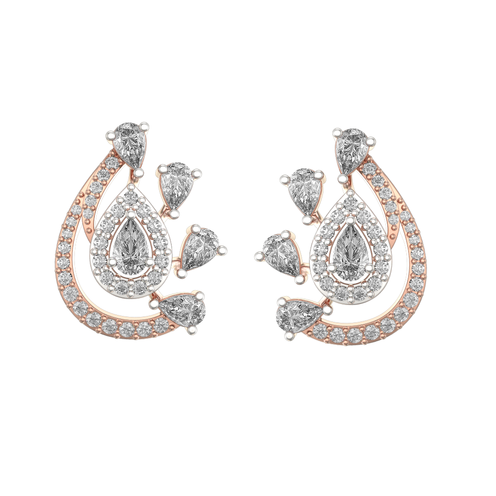 0.15 Ct Impeccable Impressions Solitaire Stud Earrings In Pink Gold For Women (Halo) v2