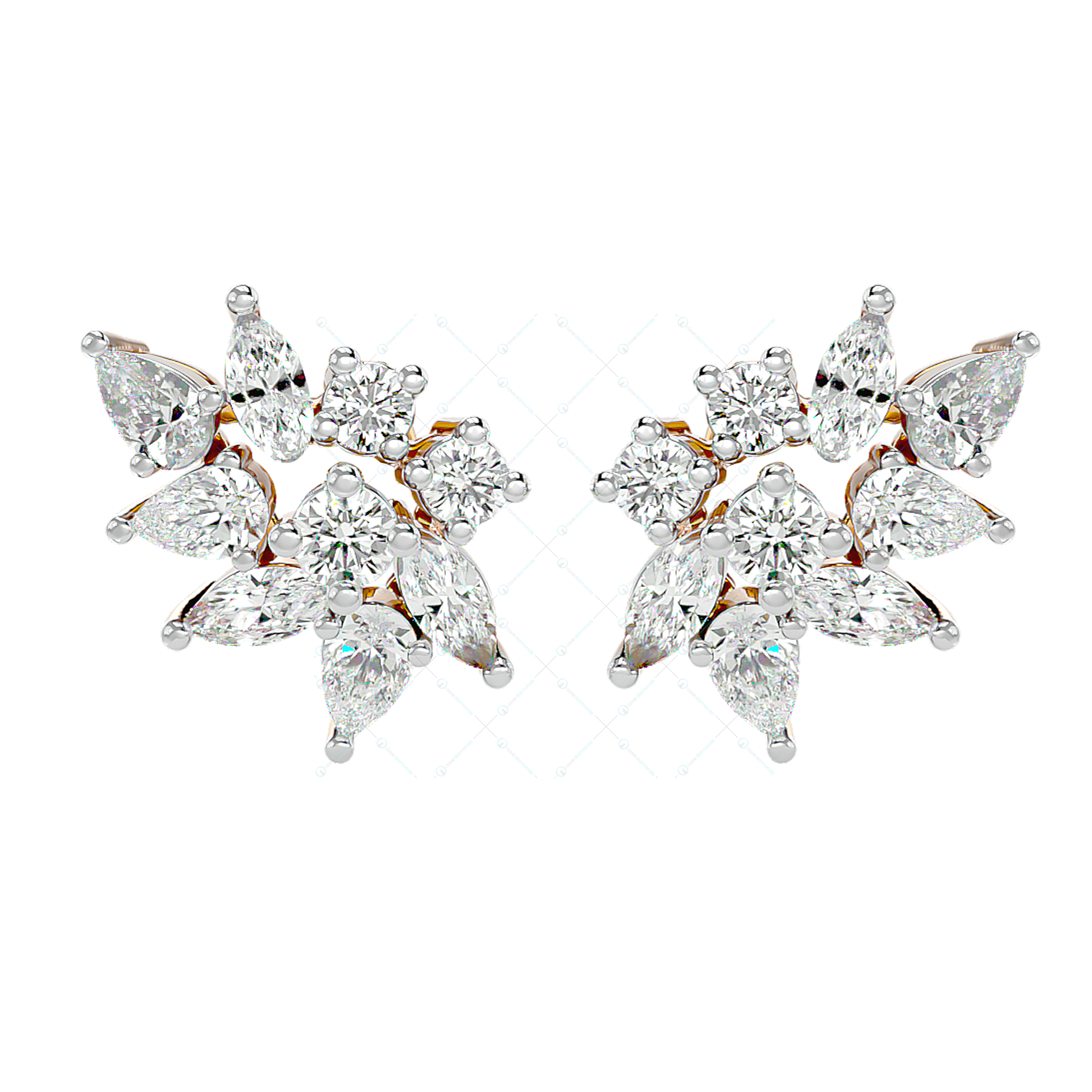 Sparkles Of Desire Diamond Stud Earrings In Pink Gold For Women view 2