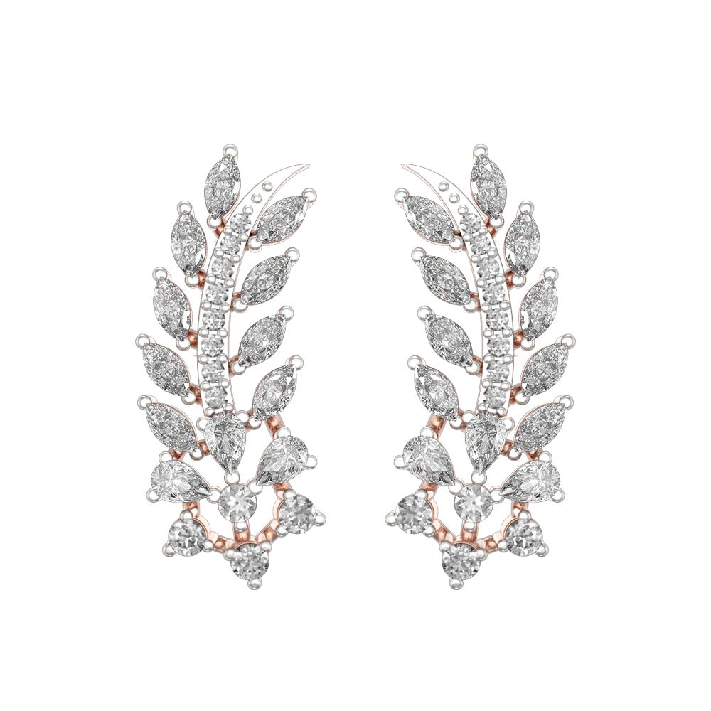 Wondrous Leaflet Diamond Ear Cuff in Pink Gold for Women view 2