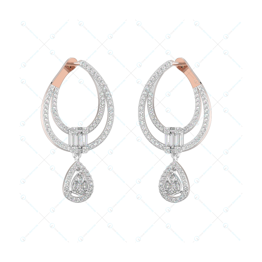 Adorable Loops Diamond Earrings in Pink Gold for Women v1