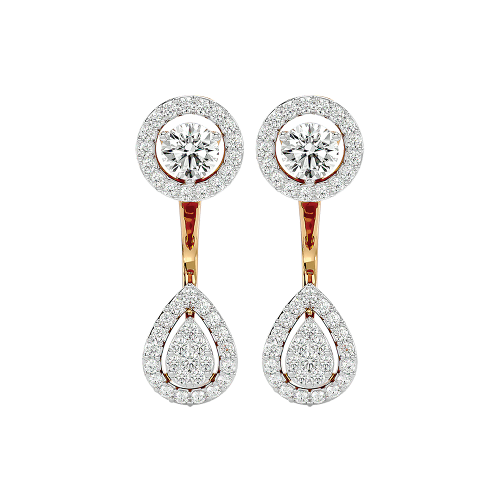 Stunning Sovereign Solitaire Earrings In White Gold For Women view 2