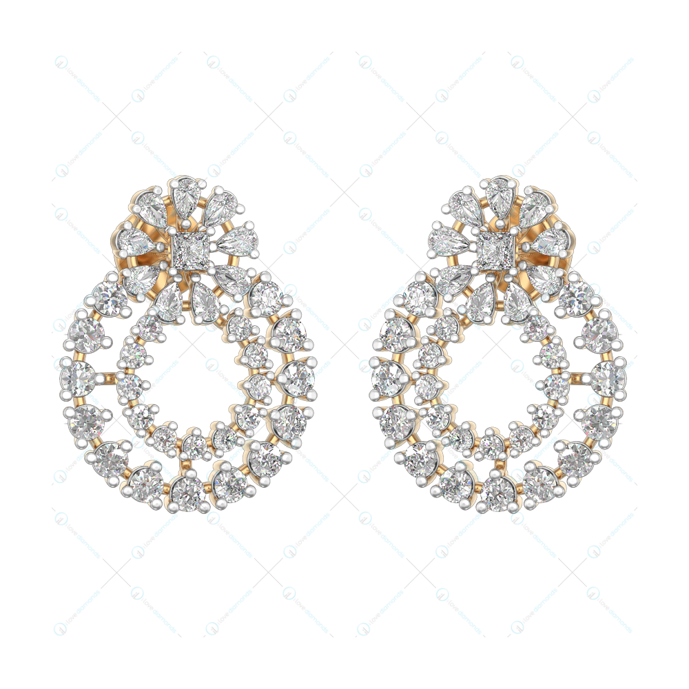 Gorgeous Glimmers Diamond Earrings in Pink Gold for Women v1