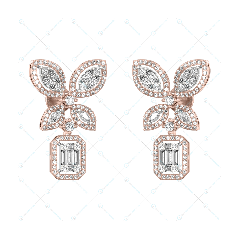 Ethereal Enchantments Diamond Earring in Pink Gold for Women v1