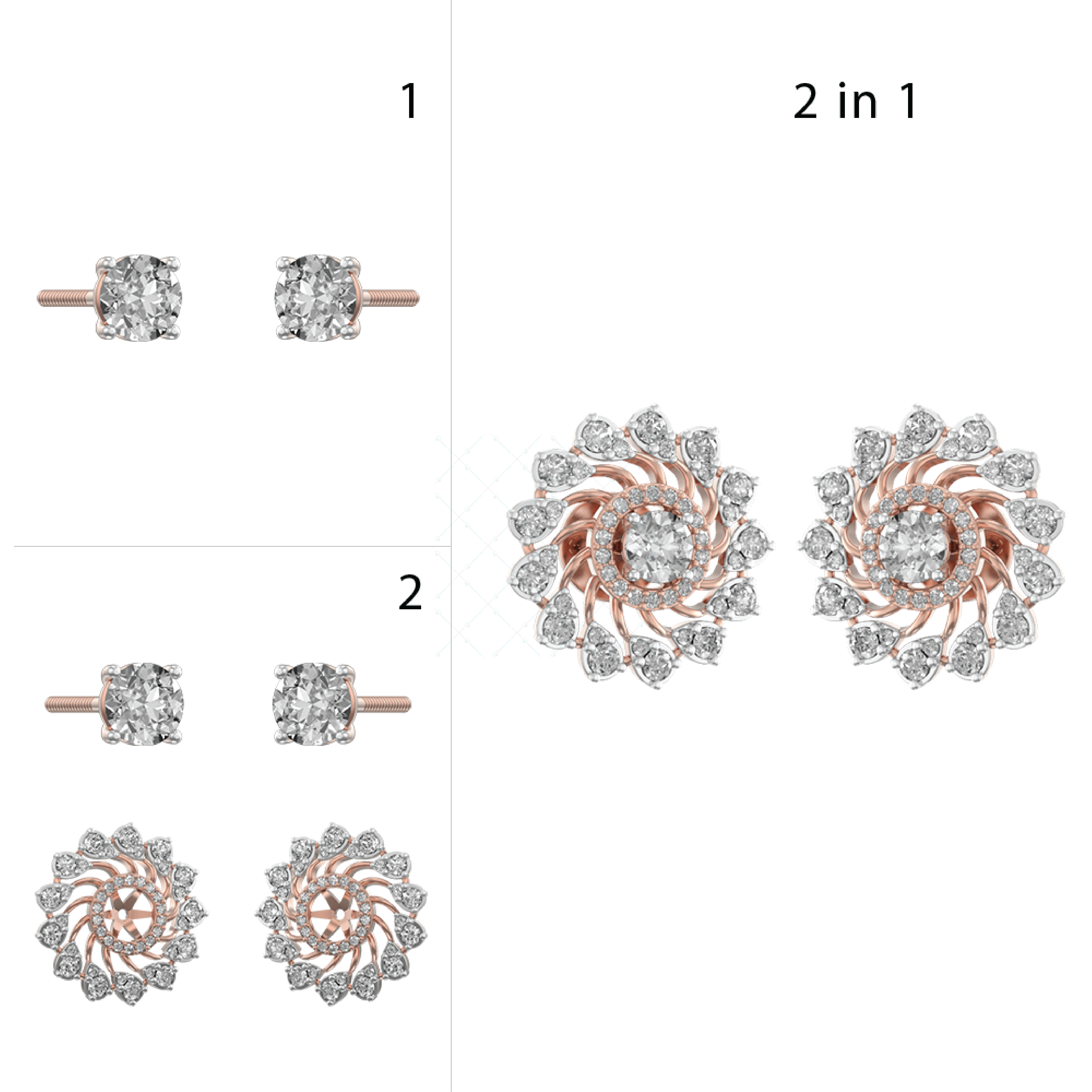Pirouetting Panache Solitaire Earrings In Pink Gold For Women v1
