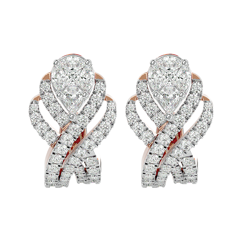 Lush Luster Diamond Earrings In Pink Gold For Women view 2