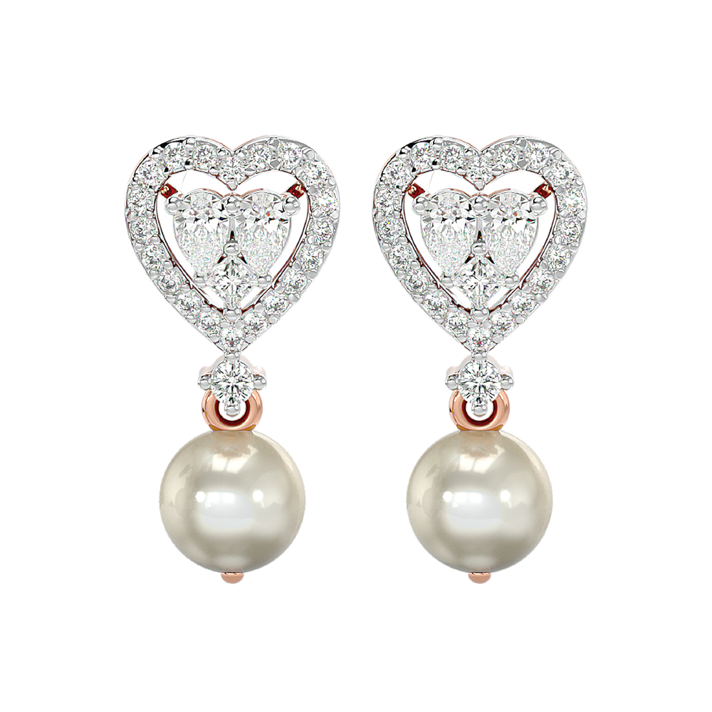 Blushing Hearts Diamond Earrings In Pink Gold For Women view 2