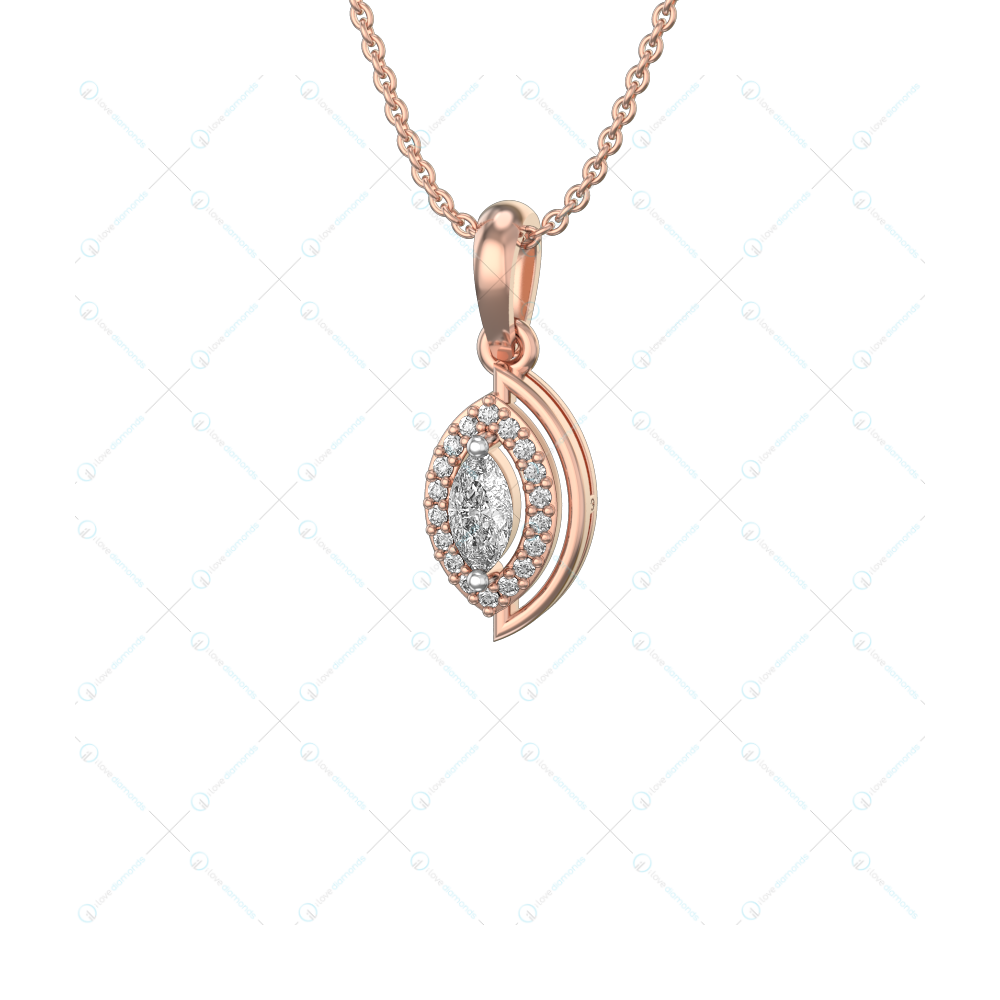 0.25 ct Captivating Charms Solitaire Pendant in Pink Gold for Women (Halo) v1