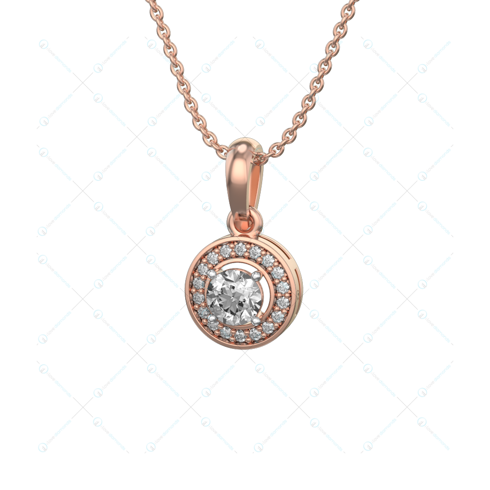 0.30 ct Eleniah Solitaire Pendant in Pink Gold For Women(Halo) v1