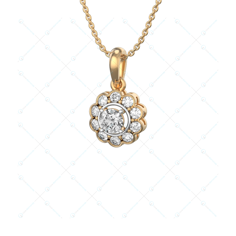 0.30 ct Floral Fortune Solitaire Pendant in Yellow Gold for Women v1