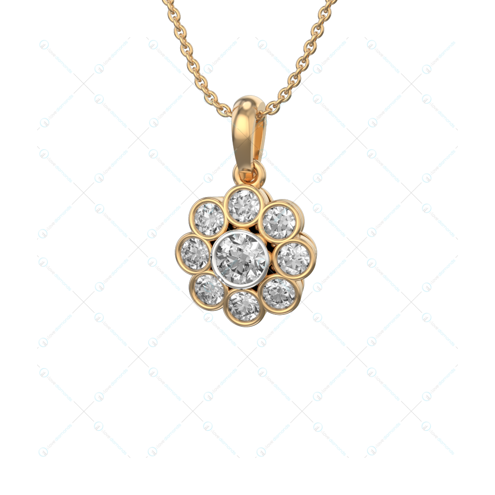0.25 ct Ellina Solitaire Pendant in Yellow Gold For Women(Flower) v1