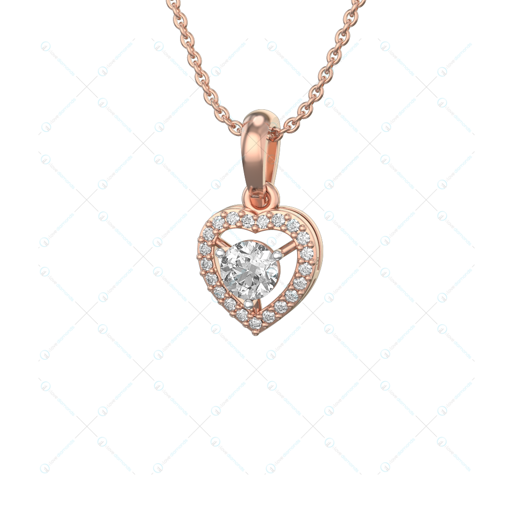 0.30 ct Heart Solitaire Pendant in Pink Gold For Women(Heart) v1