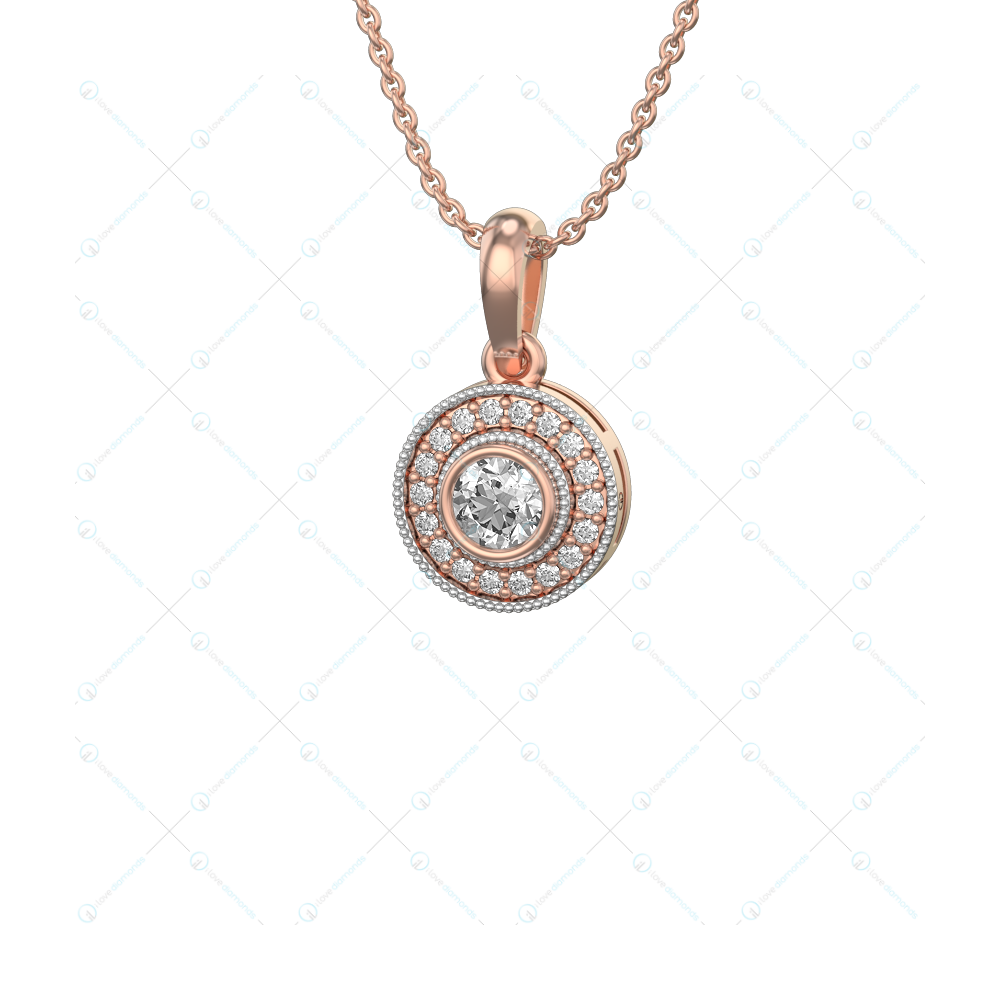 0.30 ct Concentric Incandescence Solitaire Pendant In Pink Gold for Women v1