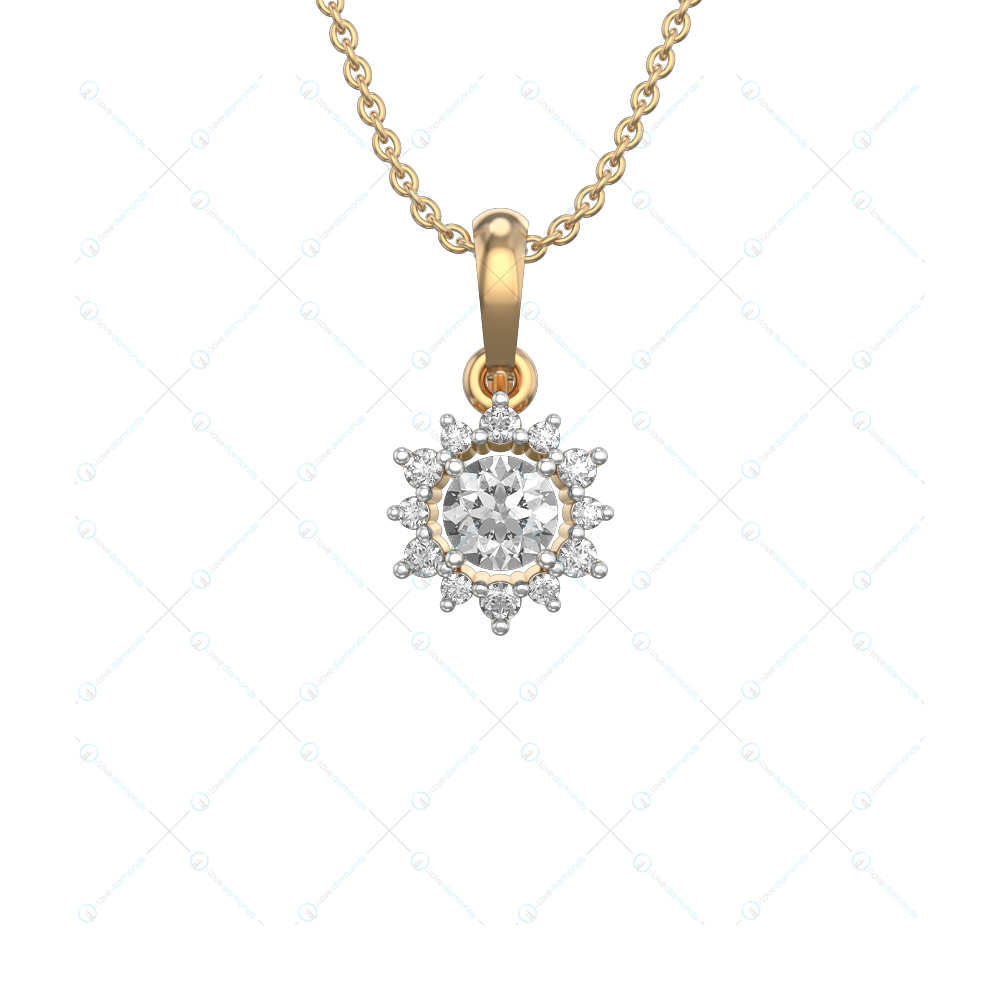 0.30 ct Empyra Solitaire Pendant in Yellow Gold For Women(Flower) v2