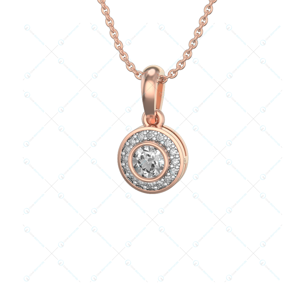 0.30 ct Raniel Solitaire Pendant in Pink Gold For Women(Halo) v1