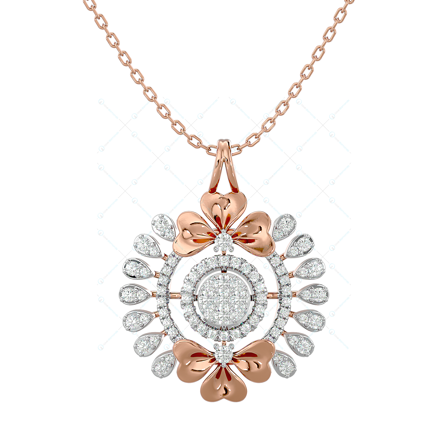 Floral Extravaganza Diamond Pendant In Pink Gold For Women v2