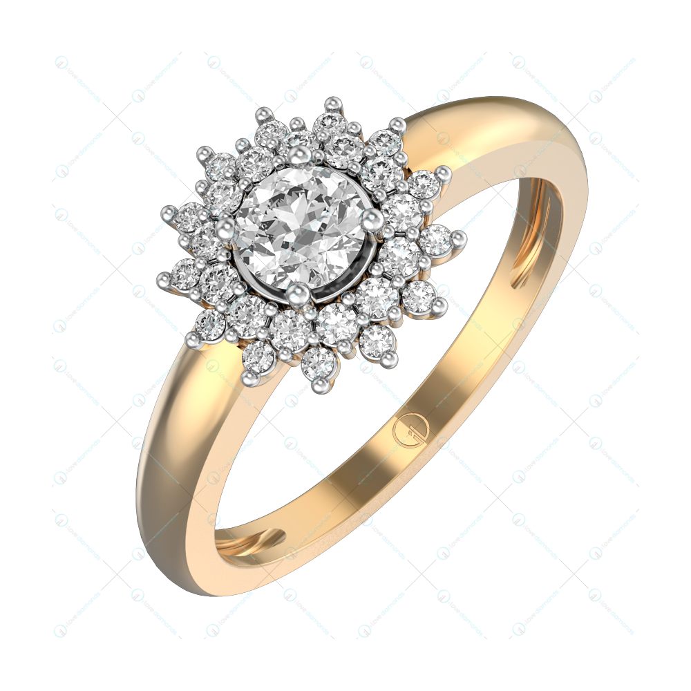 0.30 ct Star of Bethlehem Solitaire Engagement Ring in Yellow Gold For Women v1