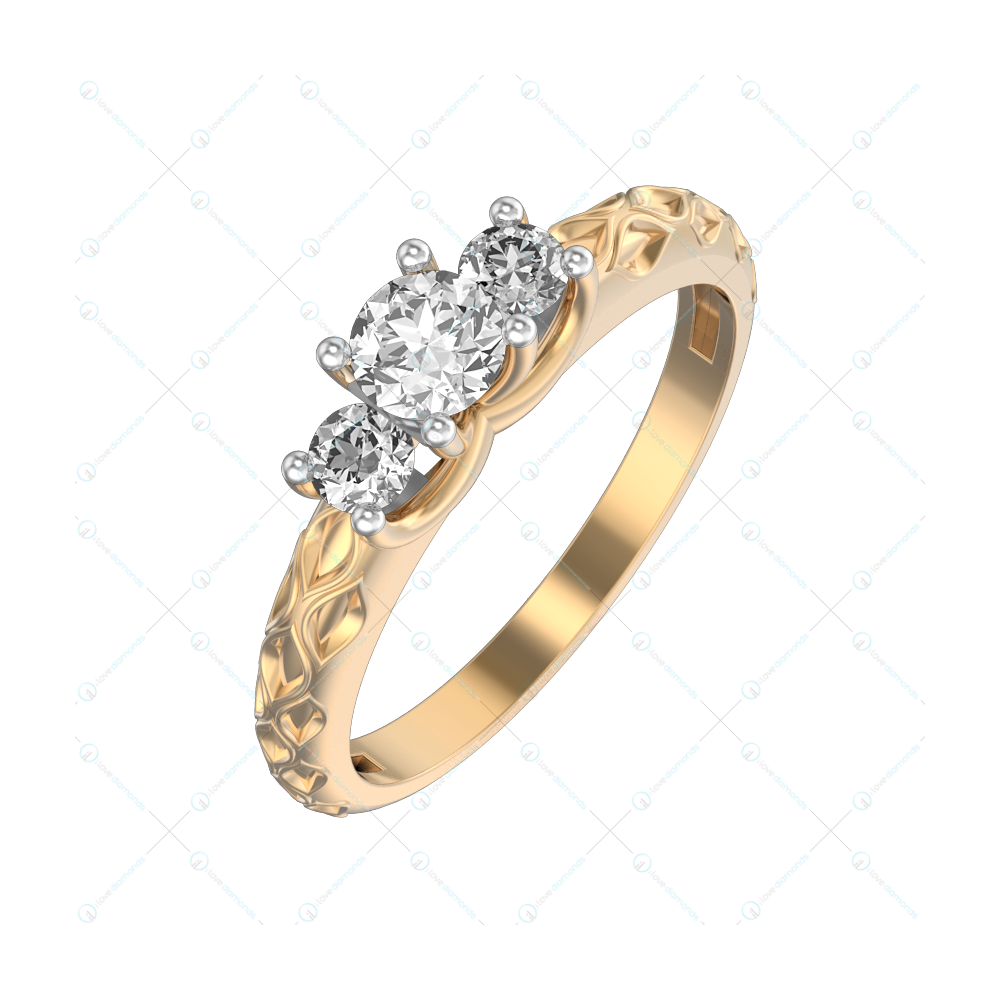 0.25 ct Engraved Elegance Solitaire Engagement Ring in Yellow Gold For Women v1