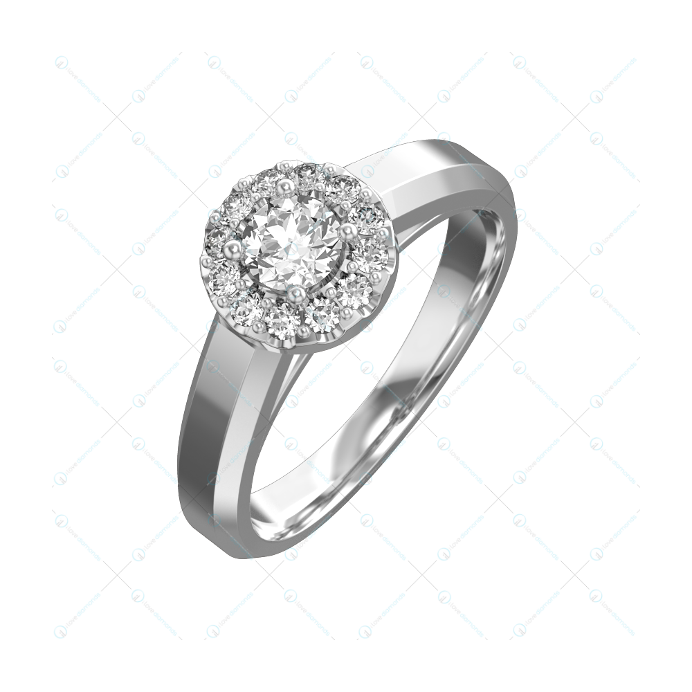 0.25 ct Flashing Torch Solitaire Engagement Ring in White Gold For Women v1
