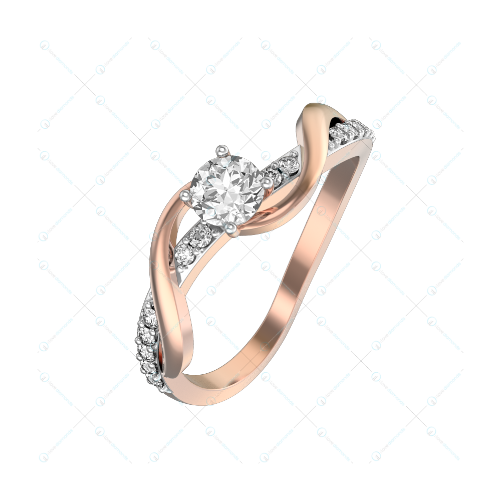 0.25 ct Sonnets to Laura Solitaire Engagement Ring in Pink Gold For Women v1