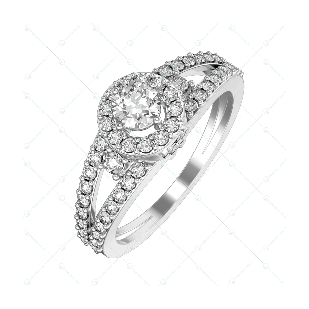 0.25 ct Elevated Glory Solitaire Engagement Ring in White Gold For Women v1