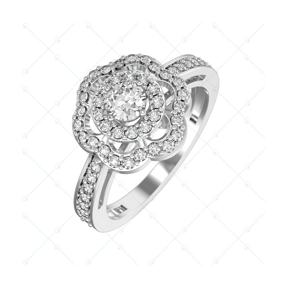 0.25 ct Country Queen Solitaire Engagement Ring in White Gold For Women v1