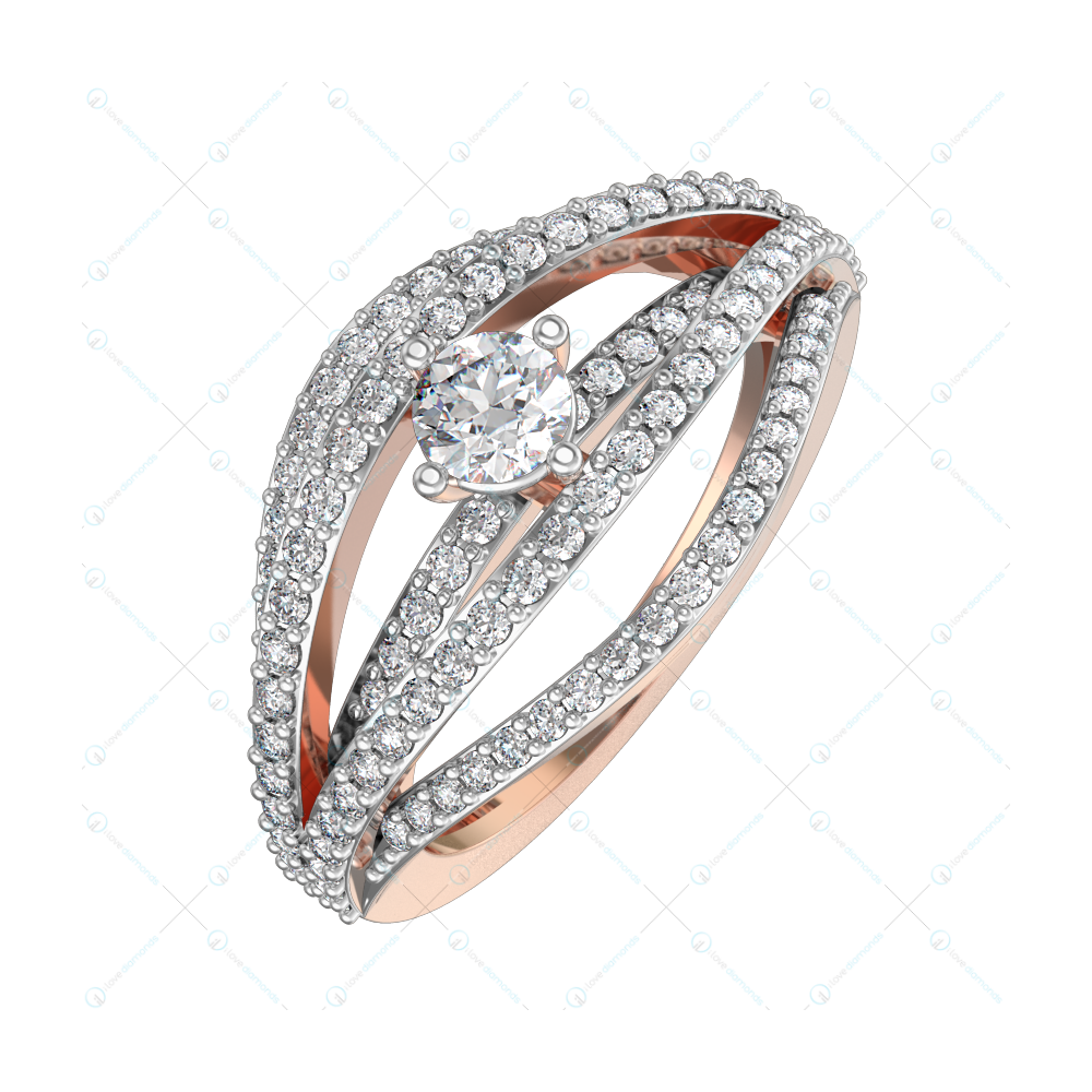 0.30 ct Waves of Passion Solitaire Engagement Ring in Pink Gold for women v1