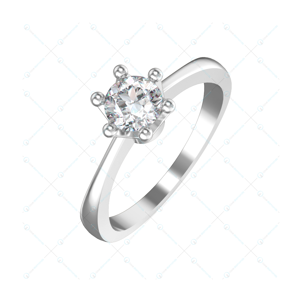 0.50 ct Princess Elsa Solitaire Engagement Ring in White Gold For Women v1