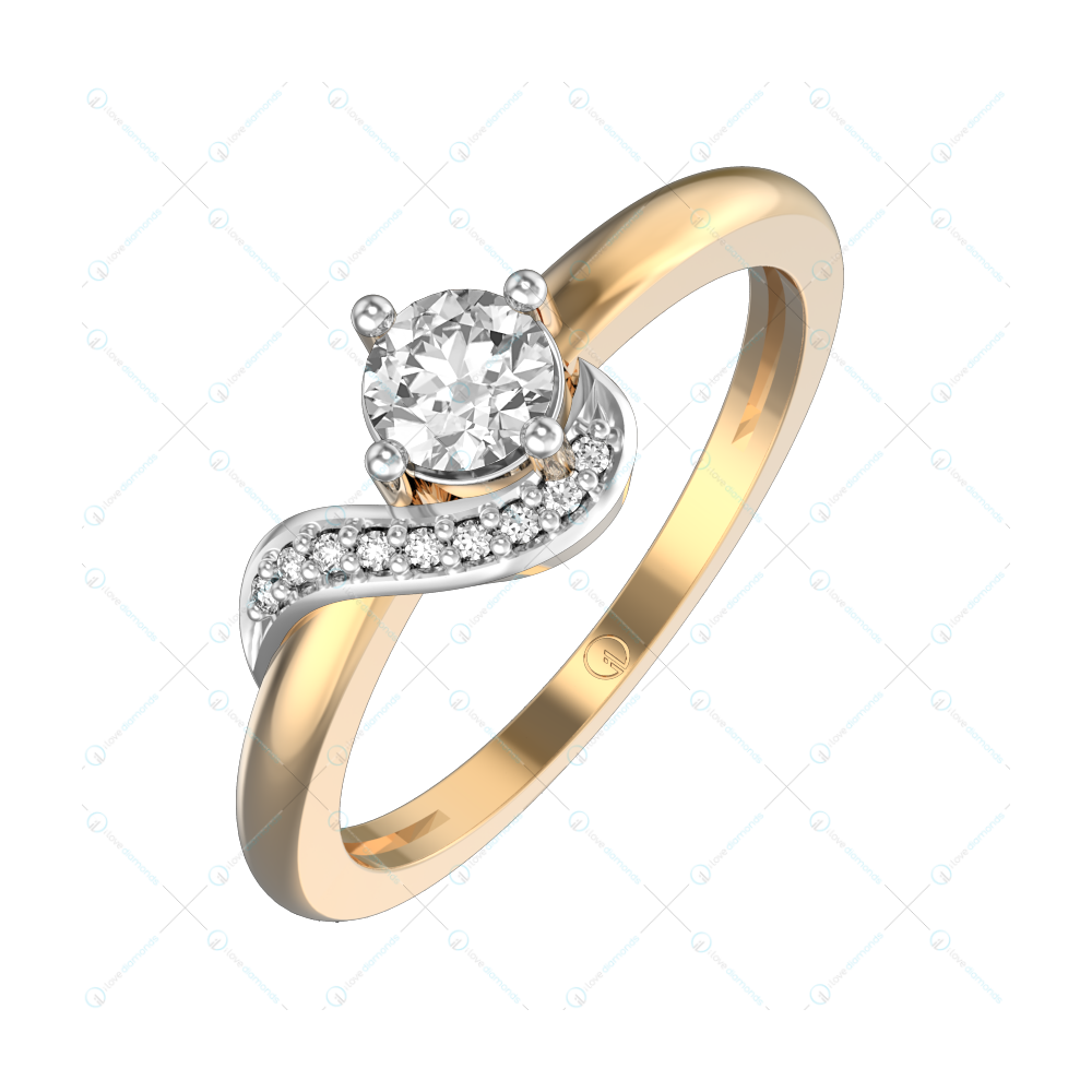 0.30 ct Sparkling Scoop Solitaire Engagement Ring in Yellow Gold For Women v1
