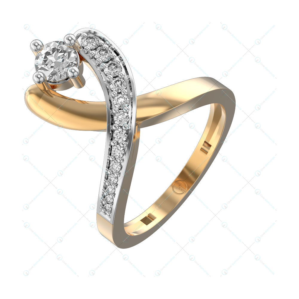 0.35 ct Trendy Tong Diamond Ring in Yellow Gold For Women v1