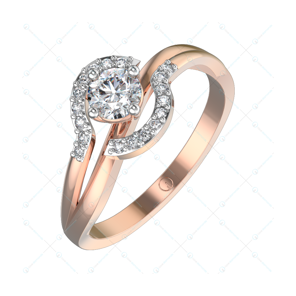 0.30 ct Elated Embrace Solitaire Engagement Ring in Pink Gold For Women v1