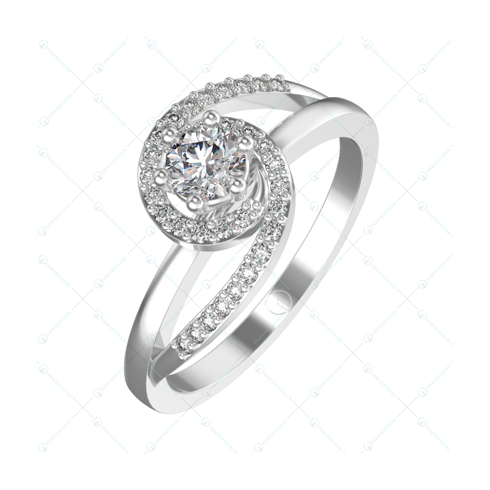 0.30 ct Rumba Radiance Solitaire Engagement Ring in White Gold For Women v1