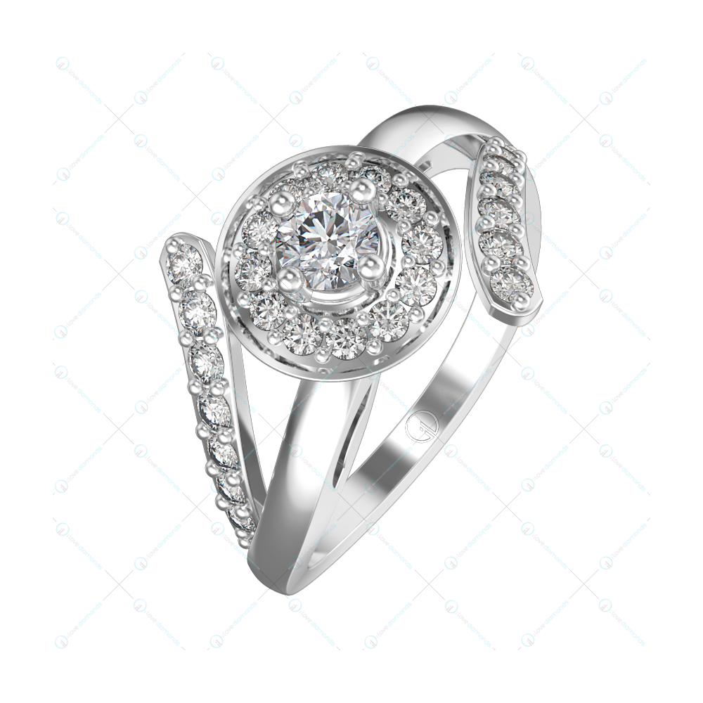 0.20 ct Grand Royalty Solitaire Engagement Ring in White Gold For Women v1