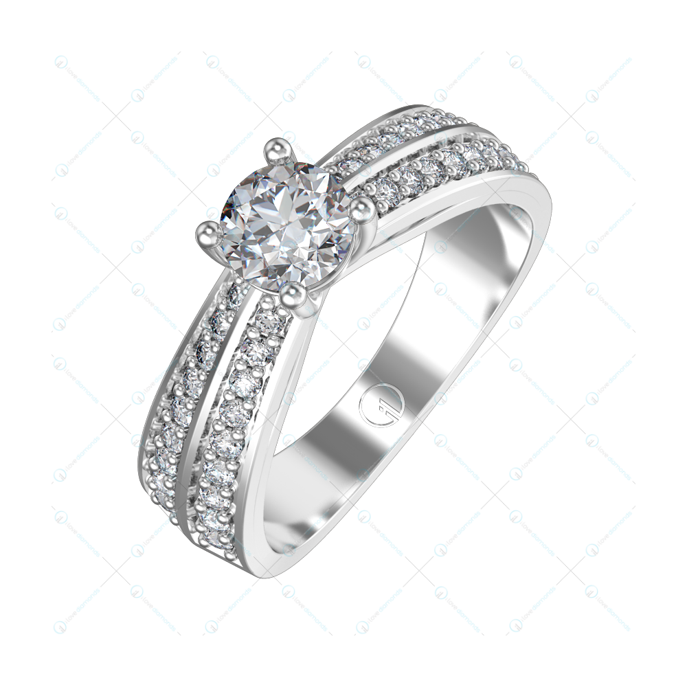 0.30 ct Double Solitaire Engagement Band Ring For Women in White Gold For Women v1