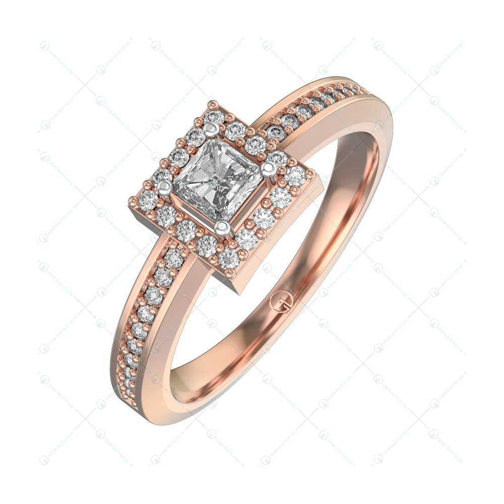 0.25 ct Eleanora Solitaire Engagement Ring in Pink Gold for Women (Halo) v1