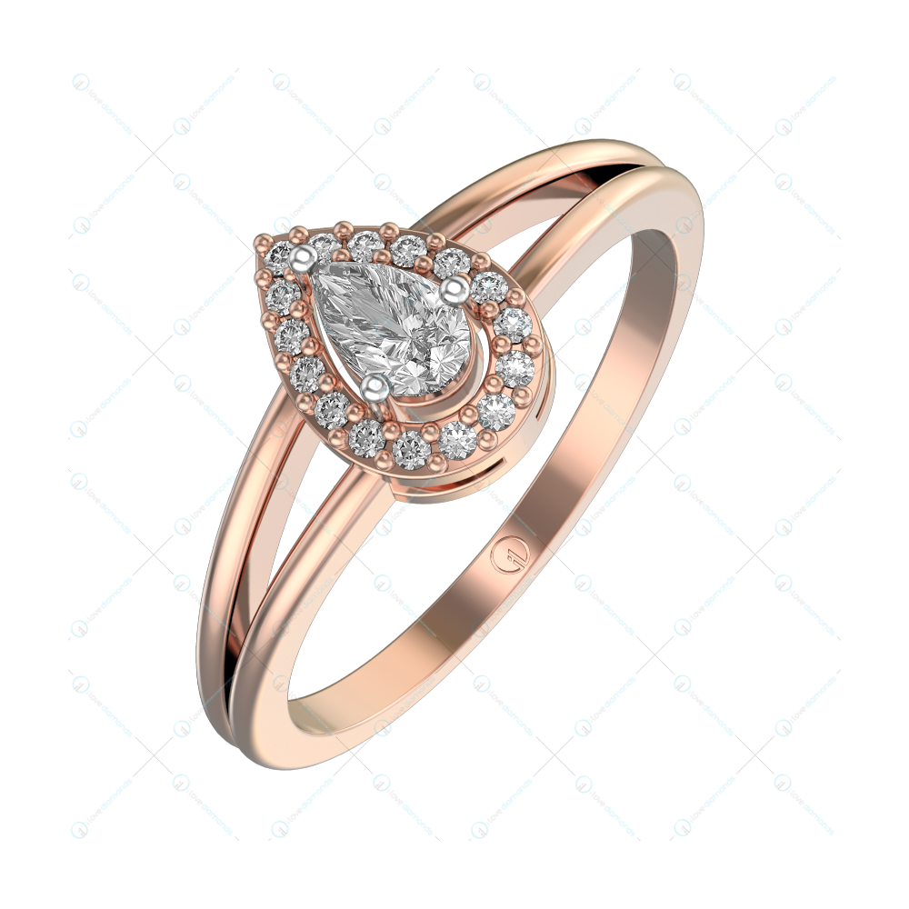 0.25 ct Dewy Glint Solitaire Engagement Ring in Pink Gold For Women (Halo) v1