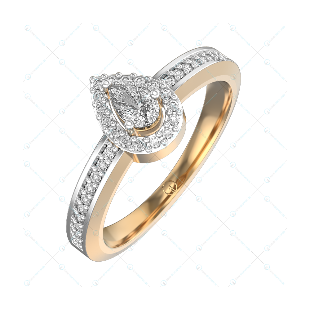 0.25 ct Sumptuous Sparkles Solitaire Engagement Ring in Yellow Gold For Women (Halo) v1