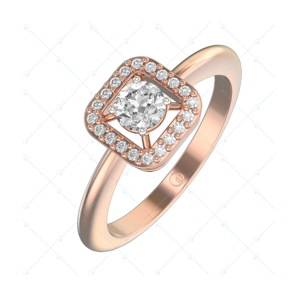 0.25 ct Venetia Solitaire Engagement Ring in Pink Gold For Women (Halo) v1