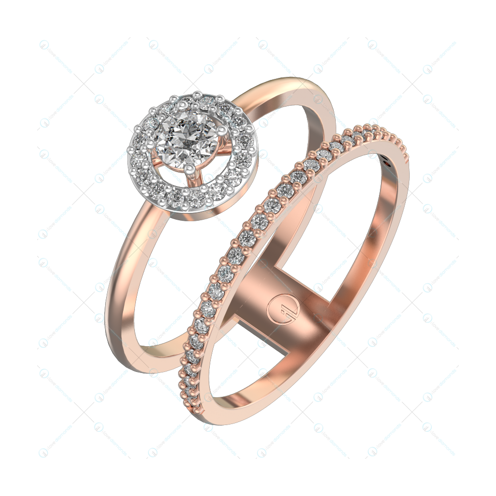 Eudora Solitaire Engagement Ring in Pink Gold For Women (Halo) v1
