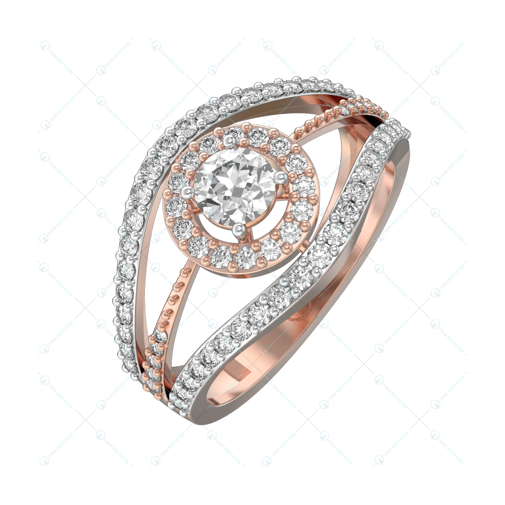 Imperial Impression Solitaire Engagement Ring in Pink Gold for Women (Halo) view 1