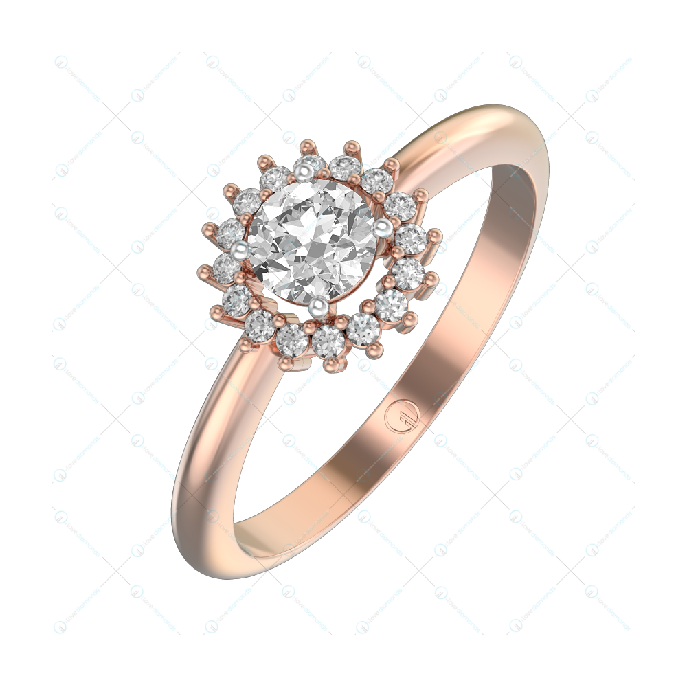 0.30 ct Fiona Solitaire Engagement Ring in Pink Gold For Women (Halo) v1