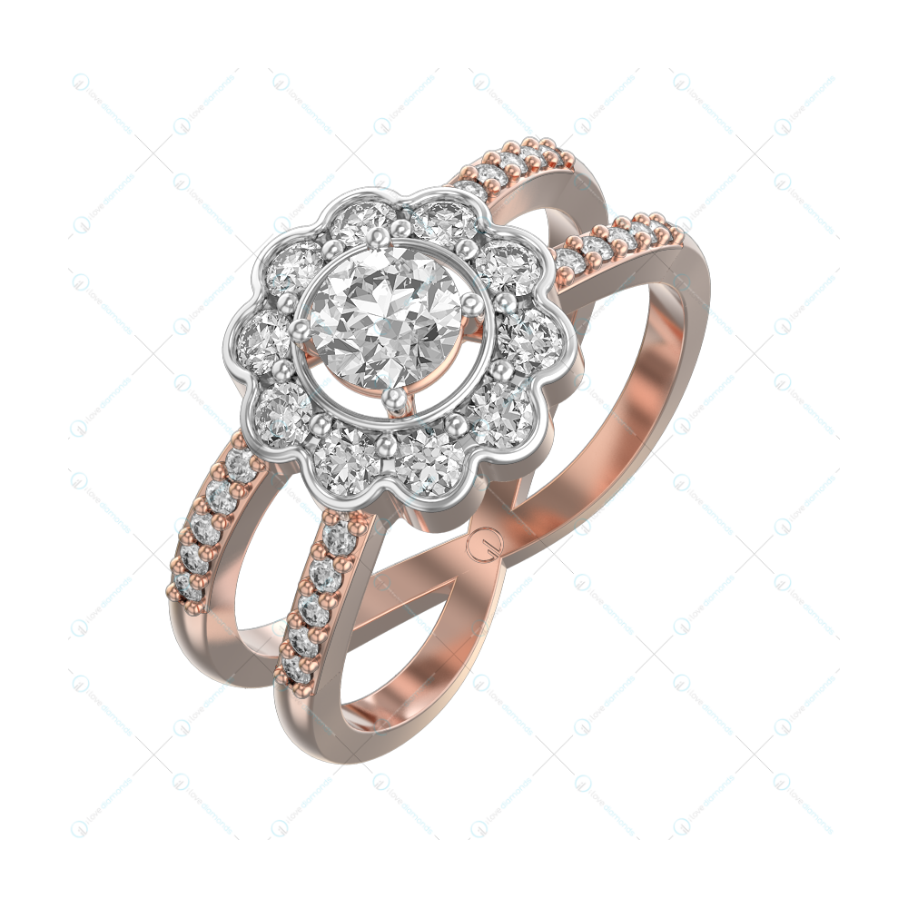 0.30 ct Floral Twister Solitaire Engagement Ring in Pink gold for Women v1