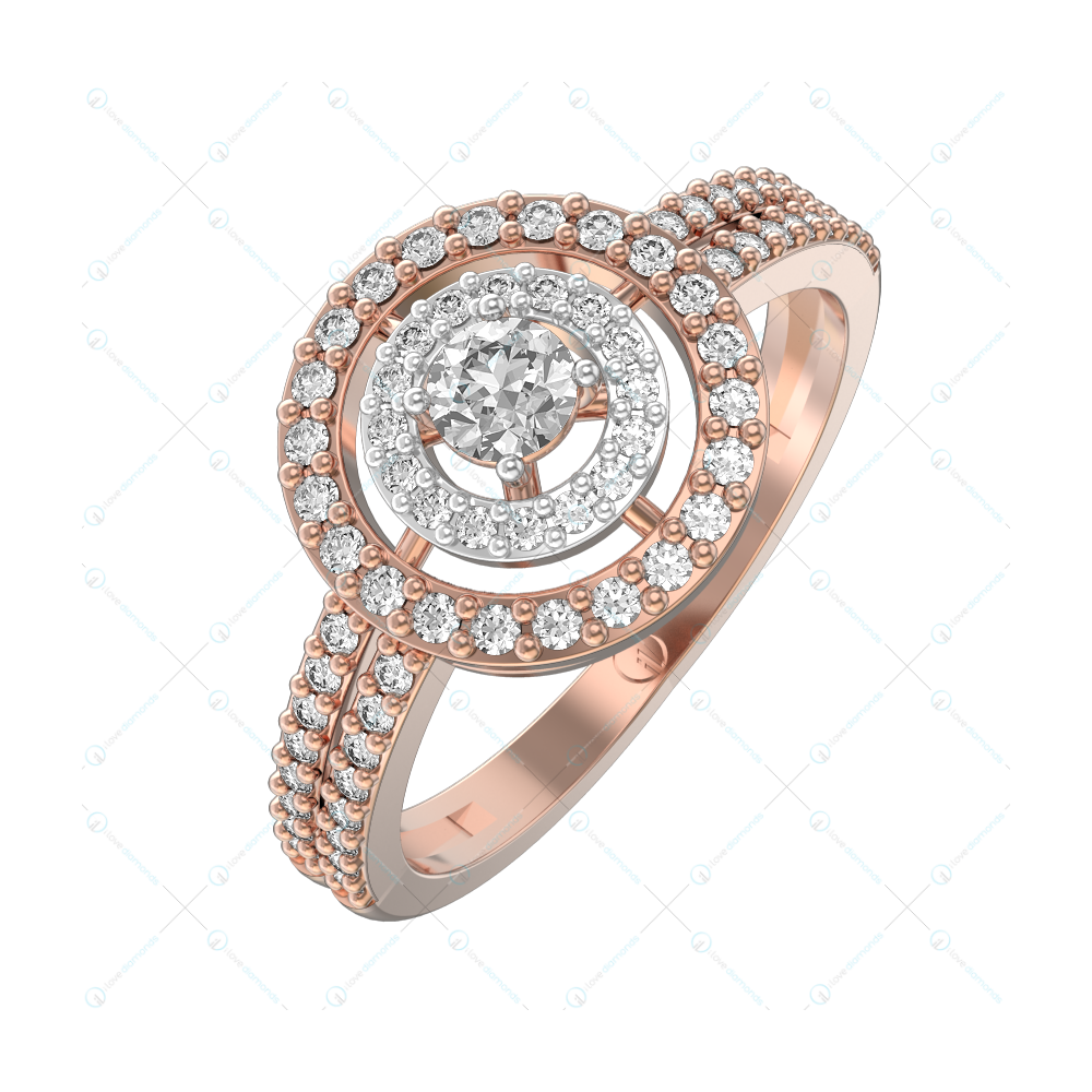 0.15 ct Concentric Passion Solitaire Engagement Ring in Pink Gold for Women (Halo) v1