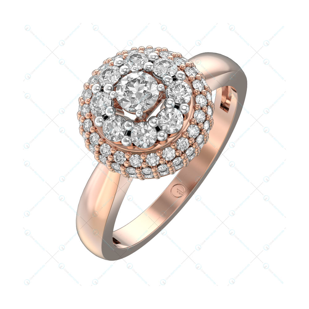 0.15 ct Moonlit Fondness Solitaire Engagement Ring in Pink Gold For Women v1