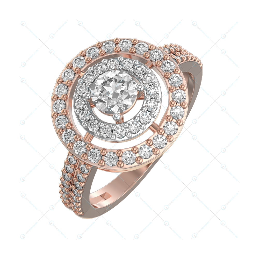 0.20 ct Striking Sunflower Solitaire Engagement Ring in Pink Gold for Women (Halo) v1